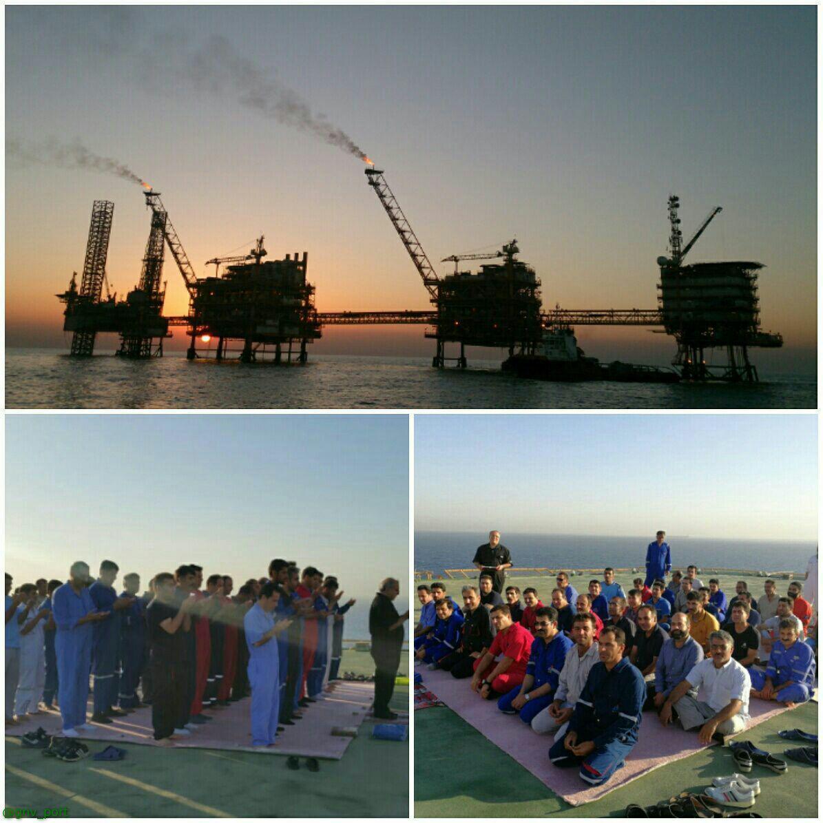 نماز عیدفطر در سکوی نفتی