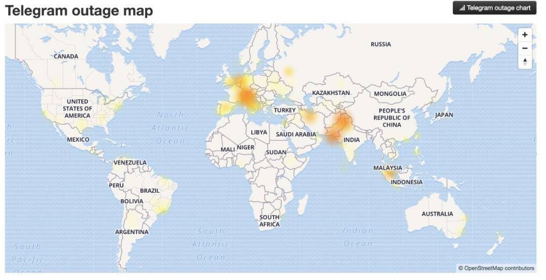 نقشه تلگرام از قطعی ایجاد شده در سراسر جهان