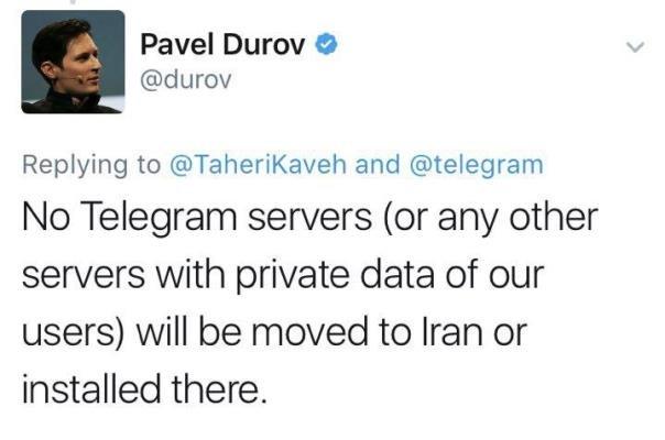 پست توییتری پاول دوروف