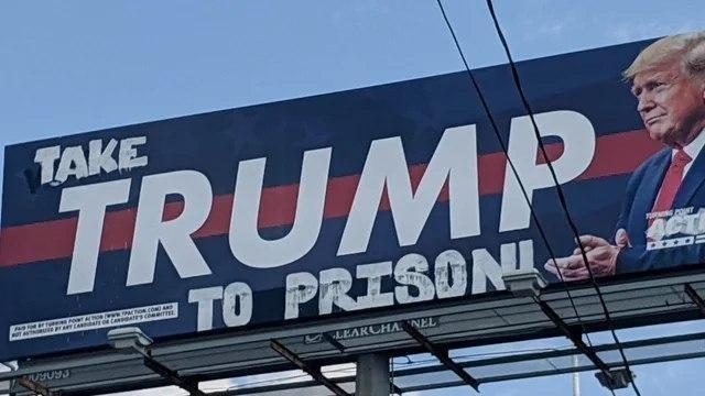 دستکاری بیلبورد انتخاباتی ترامپ