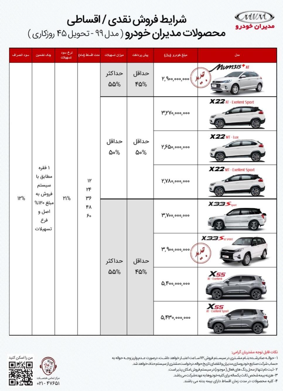 ثبت نام خودرو های شرکت مدیران خودرو