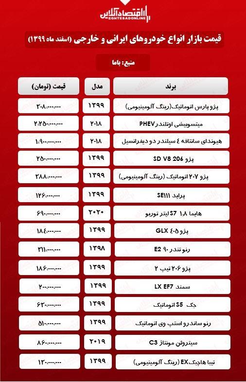 قیمت روزها خودروهای ایرانی و خارجی