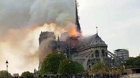 لحظه آتشسوزی در کلیسای نوتردام +فیلم