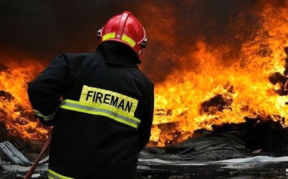 آتش سوزی در یک گاراژ ۲هزار متری