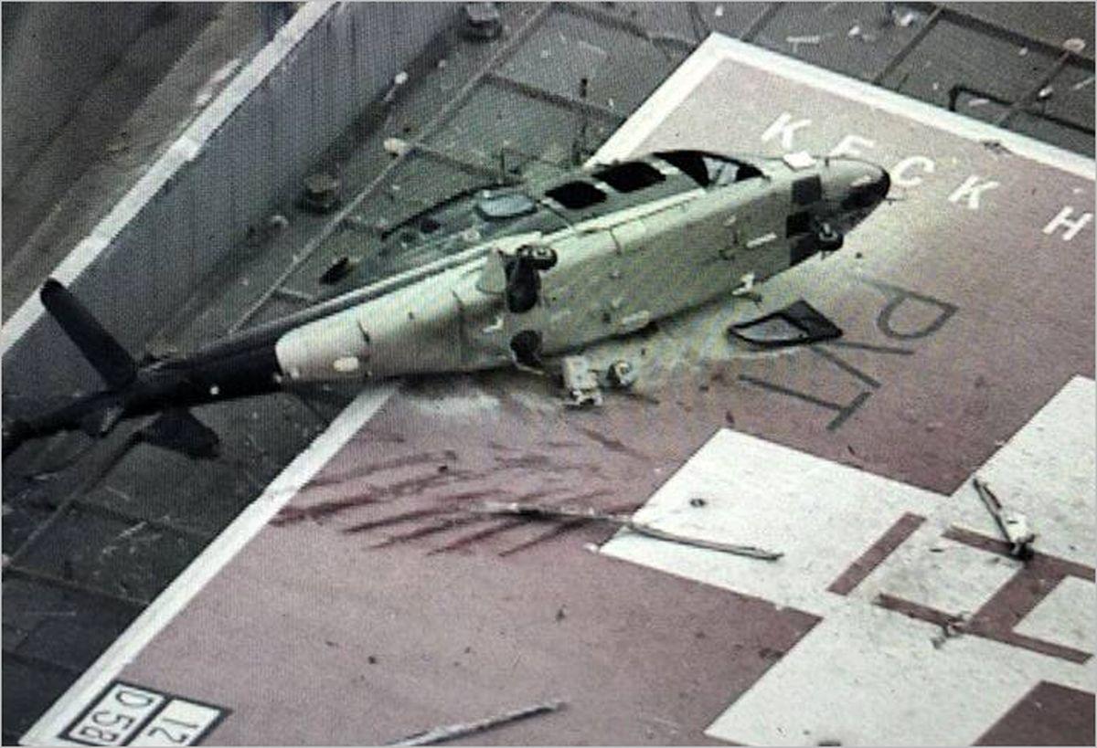 سقوط یک بالگرد روی بیمارستانی در آمریکا +عکس