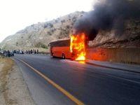 اتوبوس مسافربری در جاده همدان - تهران دچار حریق شد