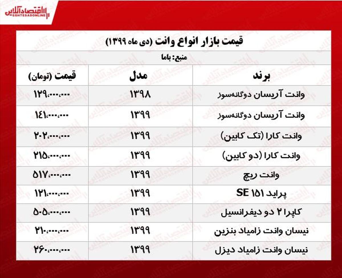 قیمت انواع وانت در پایتخت +جدول