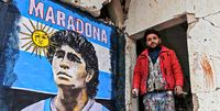 اقدام متفاوت هنرمند سوری برای تکریم مارادونا +عکس