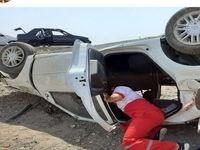 واژگونی یک سواری در آزادراه کاشان- قم