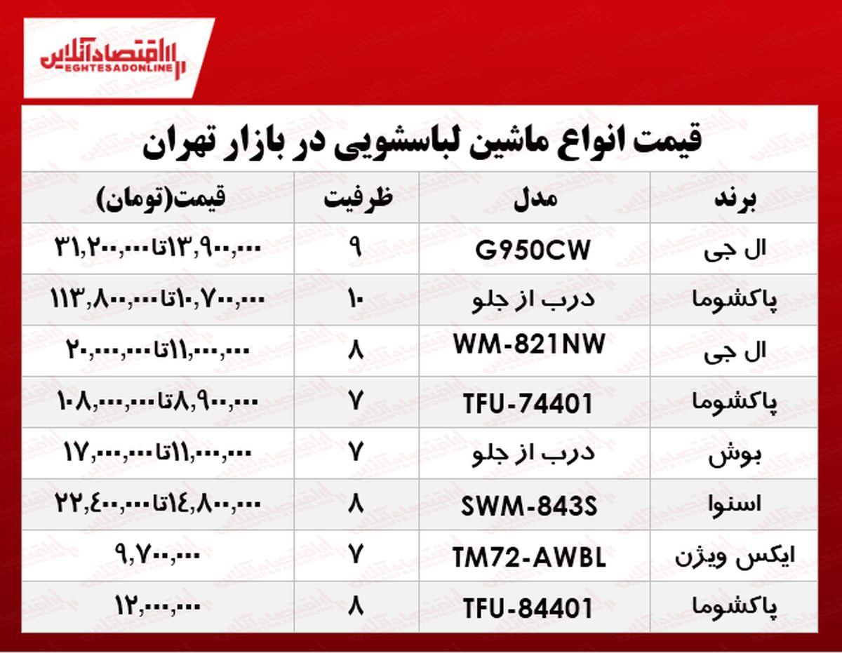 قیمت انواع جدیدترین ماشین لباسشویی در بازار تهران؟ جدول