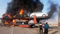 آتشگرفتن تریلی حامل خودروهای لوکس وارداتی +تصاویر
