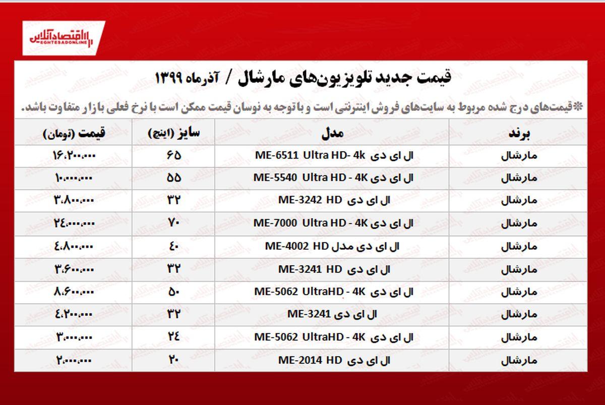 قیمت جدید تلویزیون مارشال +جدول