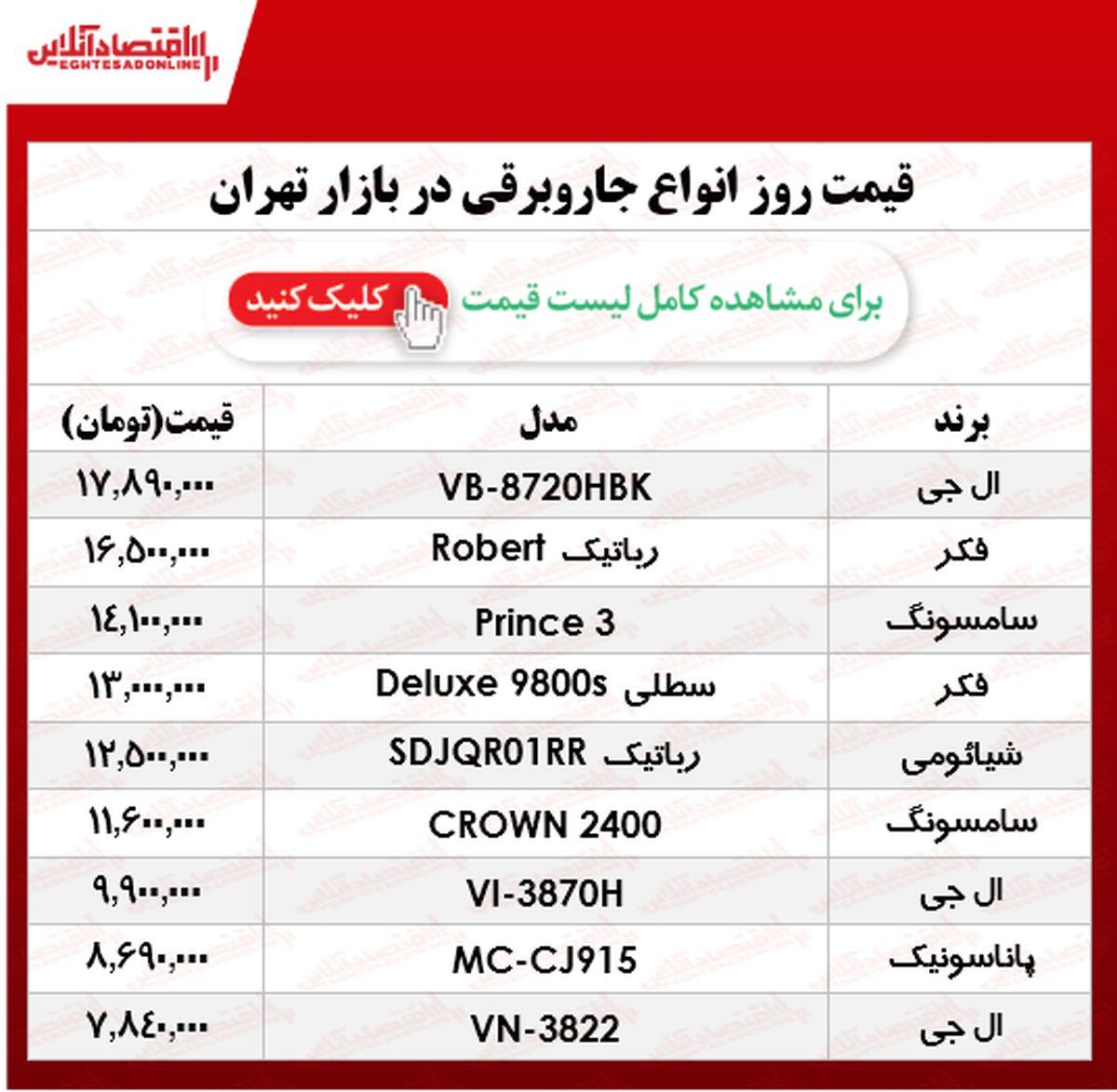 قیمت روز جاروبرقی +جدول