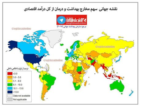 سهم مخارج بهداشت و درمان از کل درآمد اقتصادی +اینفوگرافیک