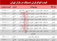 نرخ انواع فرش دستباف در بازار تهران؟ +جدول