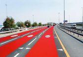 استفاده از رنگ قرمز در آسفالت جادهها در دوبی