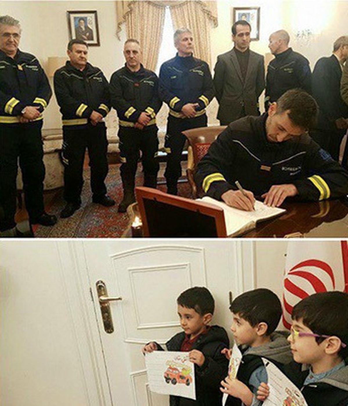 ادای احترام آتشنشانان اسپانیایی به شهدای آتشنشان +عکس