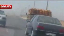 واژگونی خودروی حمل کپسول +فیلم