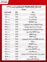 قیمت انواع محصولات ایران خودرو +جدول