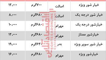 قیمت انواع خیارشور در بازار +جدول