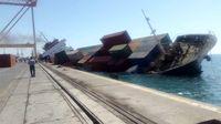یک کشتی تجاری در بندرعباس غرق شد +عکس