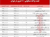مظنه واحدهای ۱۰۰ متری در تهران +جدول