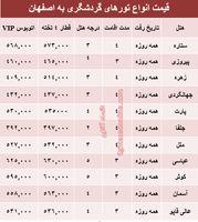 مظنه سفر زمینی به اصفهان؟ +جدول