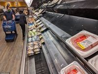 قفسههای خالی از گوشت در فروشگاههای آمریکا +تصاویر