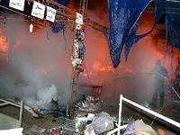 یک نمایشگاه کالای بهاره دچار آتش سوزی شد +عکس