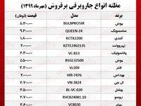 قیمت جدید جاروبرقیهای پرفروش +جدول