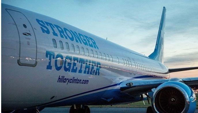 هیلاری کلینتون و هواپیمای انتخاباتی
