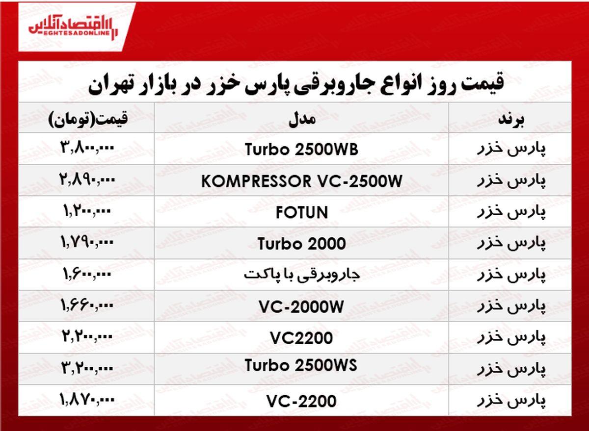 قیمت انواع جاروبرقی پارس خزر در بازار چند؟ +جدول