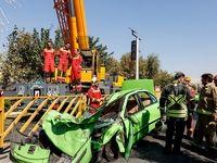 سقوط جرثقیل در اتوبان بسیج +تصاویر