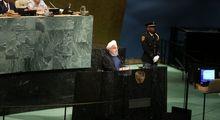 سالن سازمان ملل حین سخنرانی روحانی +عکس