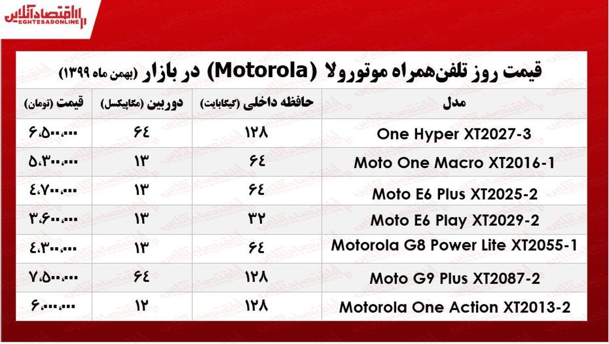 قیمت گوشی موتورولا/ ۷بهمن ۹۹