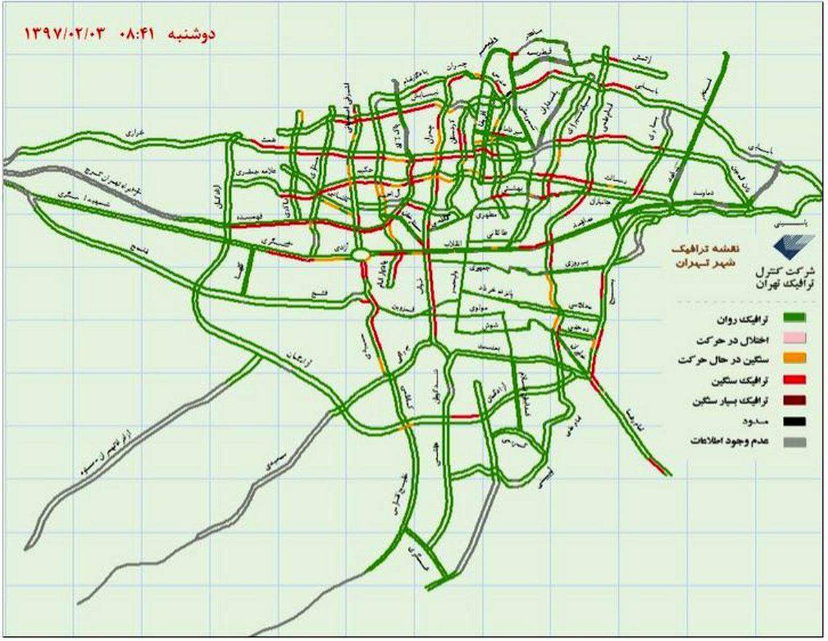 وضعیت ترافیکی هماکنون تهران +نقشه