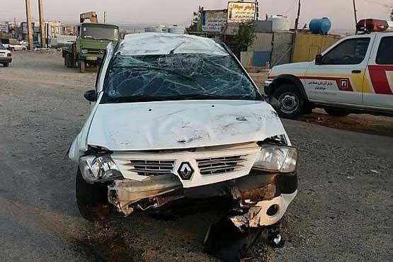 واژگونی L۹۰ در جاده خاوران +تصاویر