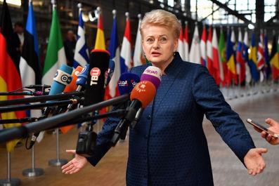 دالیا گریبوسکایته، رئیس جمهور لیتوانی در حال پاسخ دادن به سوالات خبرنگاران
