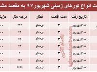 برای سفر زمینی به مشهد در شهریور97 چقدر باید هزینه کرد؟