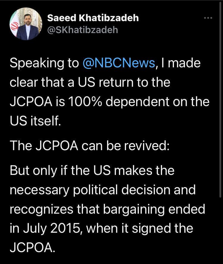 خطیبزاده: بازگشت آمریکا به برجام صد در صد به خودش بستگی دارد