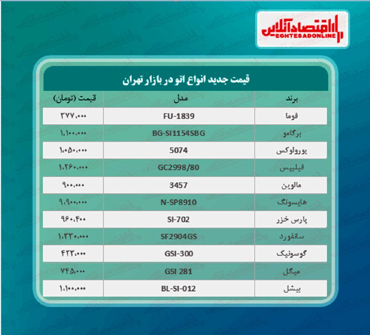 قیمت جدید انواع اتو در بازار (۱۴۰۰/۰۲/۲۷)