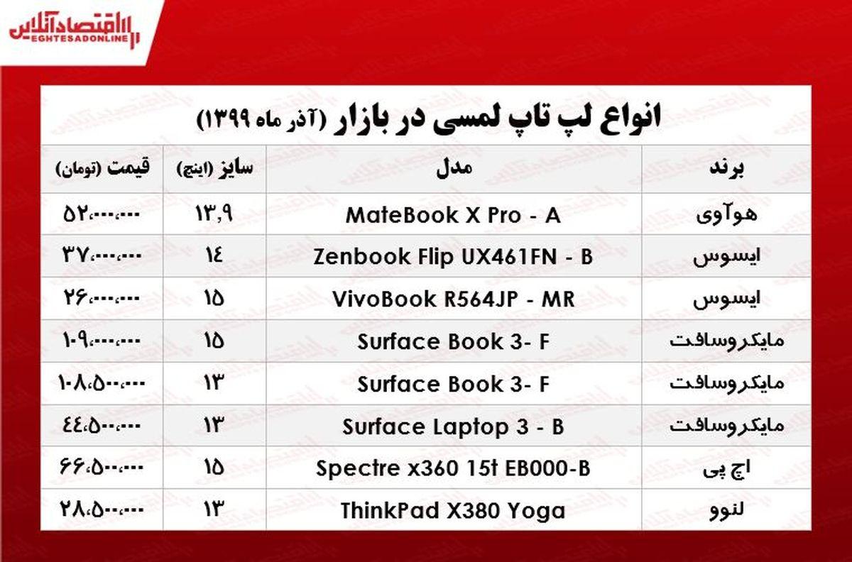 لپ تاپ لمسی چند؟ +جدول