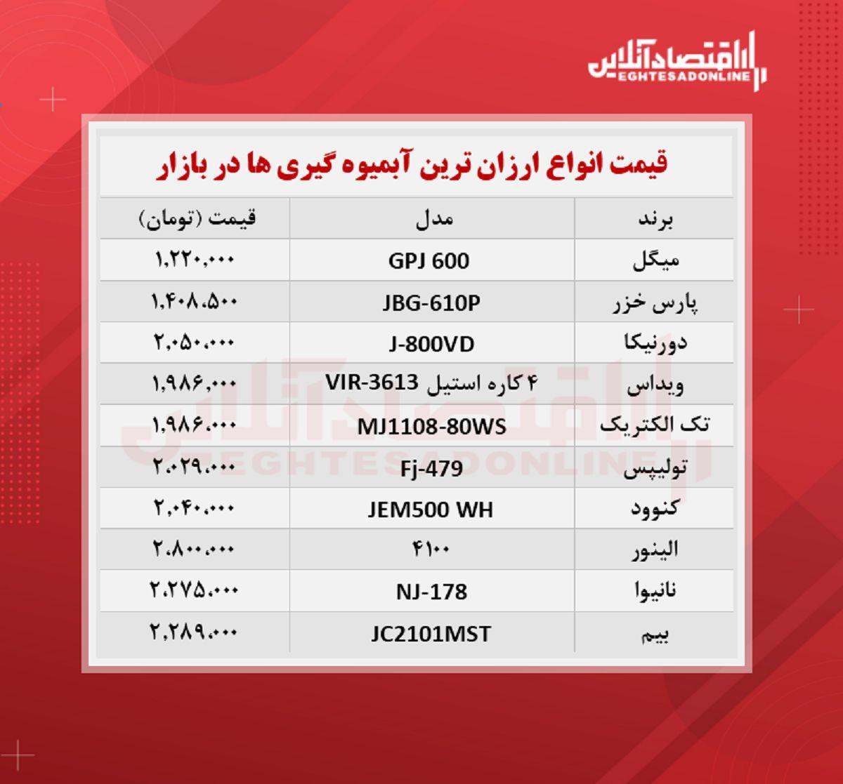 قیمت ارزان ترین مدل های آبمیوه گیری (مرداد۱۴۰۰)