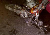 دنده عقب پراید منجر به فوت موتورسوار شد + عکس