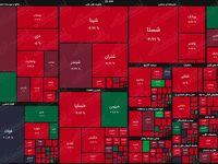 نقشه بازار سهام بر اساس ارزش معاملات/ فراز و فرود در سی دقیقه