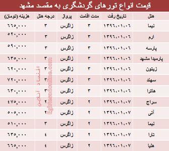 هزینه سفر به مشهد در سال جدید +جدول
