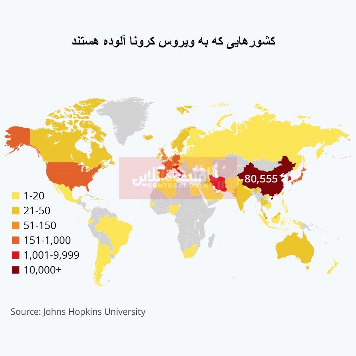 شمار مبتلایان به ویروس کرونا در جهان از مرز 110هزار نفر گذشت/ بیش از 7هزار مبتلا در ایران