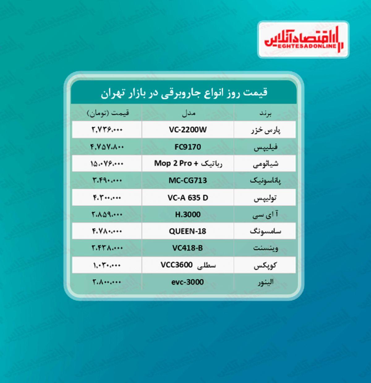 قیمت روز جاروبرقی + جدول