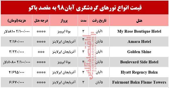 تور هوایی باکو آذربایجان چند؟