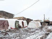 بارش برف در روستای زلزلهزده ورنکش میانه +تصاویر